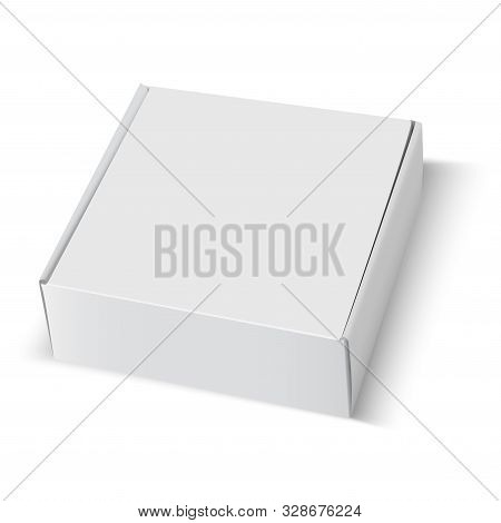 Box Mockup. White Cardboard Package Square Blank. 3d Carton Paper Closed Template Design Isolated. F