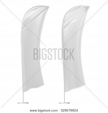 Feather Flag Banner Mockup. Advertising Promotion Stand Blank For Branding Display. Vertical White T