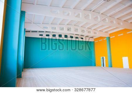 Empty Clean Hallway Or Corridor Of Interior Classroom