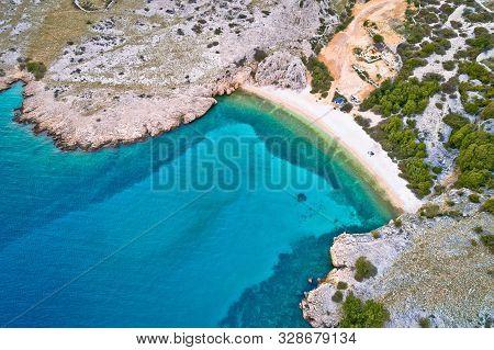Island Of Krk Idyllic Pebble Beach With Karst Landscape Aerial View, Stone Deserts Of Stara Baska, K