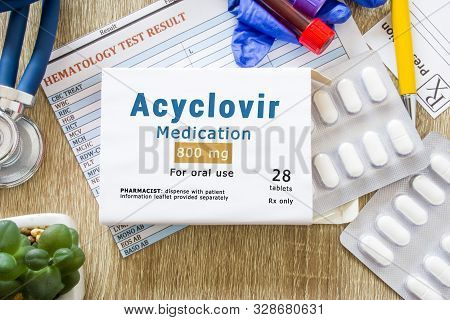 Acyclovir Medication As International Nonproprietary Or Generic Name Concept Photo. Packaging Of Dru