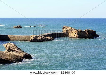 Rocks and a seawall