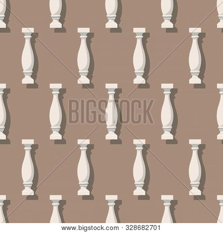 Seamless Pattern With Balusters. Architectural Details Or A Pieces Of Furniture. Vector Eps10