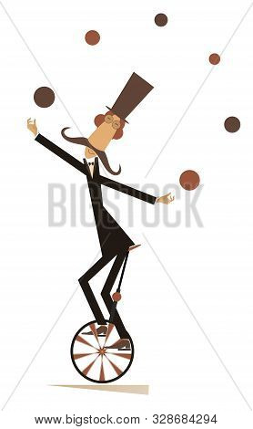 Equilibrist Mustache Man Rides On The Unicycle And Juggles The Balls Illustration. Funny Long Mustac