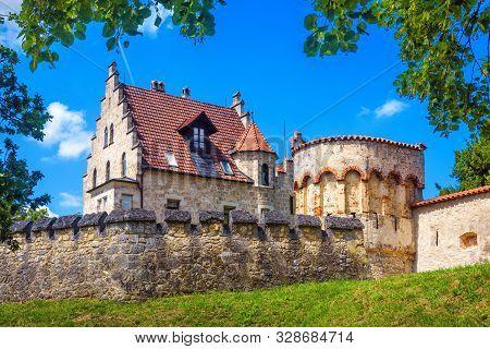 Lichtenstein Castle In Summer, Baden-wurttemberg, Germany. It Is A Landmark Of Germany. Scenic View