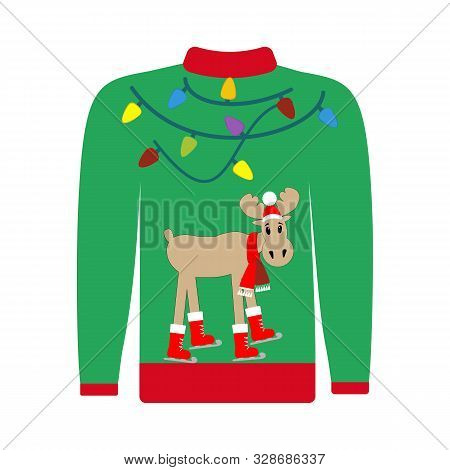 Party Christmas Ugly Sweaterwith Moose Vector Illustration