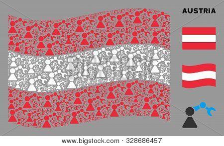 Waving Austrian Flag. Vector Robotics Manipulator Icons Are Organized Into Conceptual Austria Flag C