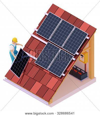 Vector Isometric Solar Panel Installation. Worker On The House Roof Installing Alternative Energy Ph