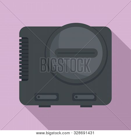 Videogame console icon. Flat illustration of videogame console vector icon for web design poster