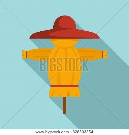 Funny Scarecrow Icon. Flat Illustration Of Funny Scarecrow Vector Icon For Web Design