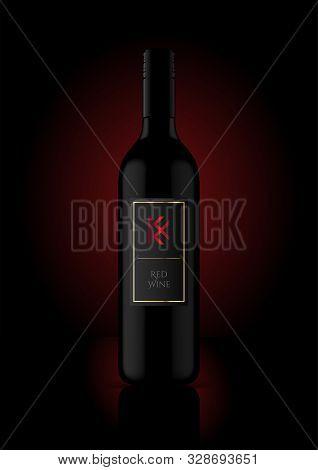 Wine Bottle Vector Illustration For Mockup / Labels