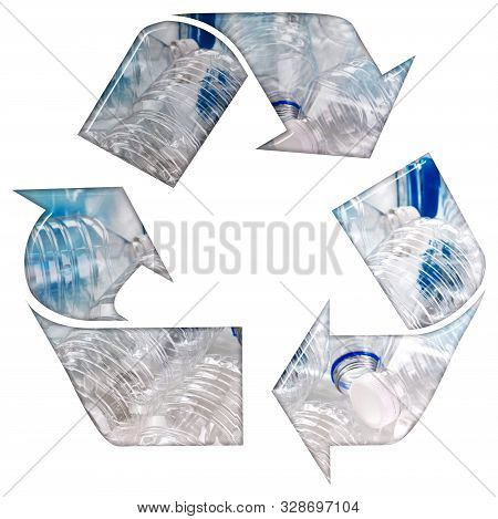 Recycle Symbol With Plastic Single Use Bottles And A Bevel Effect 3d Illustration On An Isolated Whi