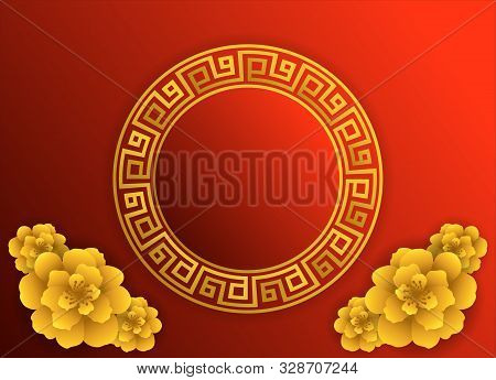 Chinese New Year 2020 Year Of The Rat , Red And Gold Paper Cut Rat Character,flower And Asian Elemen