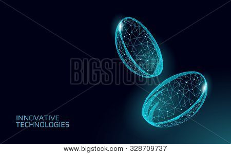 Contact Lenses 3d Low Poly Concept. Healthcare Eye Vision Care Medicine Support. Isolated Eyewear Co