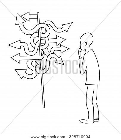 Man Stands In Front Of A Direction Indicator. Vector Picture.