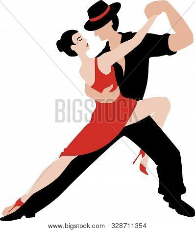 Beautiful Couple Dancing Tango. A Woman In A Red Dress And A Man In A Black Suit And Hat. Vector Ill