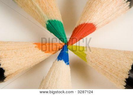 Closeup Of Five Colored Pencils