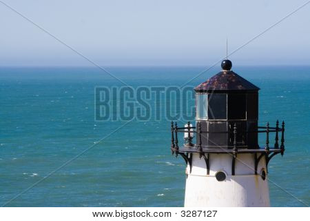 Top Of Lighthouse With Ocean In Background