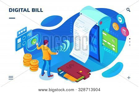 Isometric Bill Paying Screen, Digital Payment Service As Smartphone Application. Man Doing Money Tra