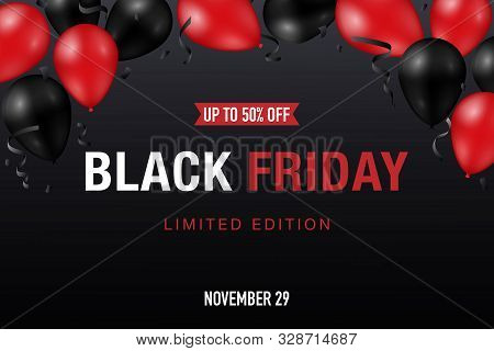 Black Friday Sale Banner With Shiny Red And Black Balloons On Dark Background. Vector Promo Design.