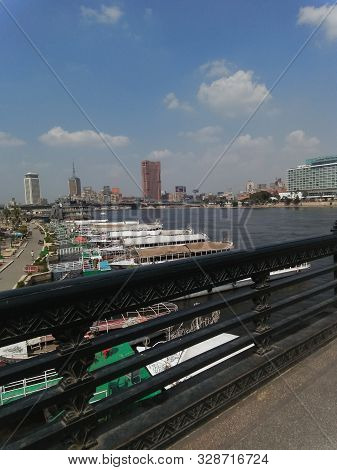 Cairo , Arabic Republic Of Egypt / Egypt - 09.15:2019:view Nil River From The Famous Old Bridge Simi