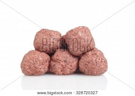 Closeup Pile Of Pile Of Raw Meatballs