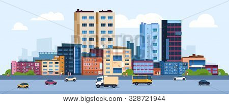 Urban Landscape. Modern Cartoon Cityscape With Buildings Cars And Street, Flat Urban Downtown Backgr
