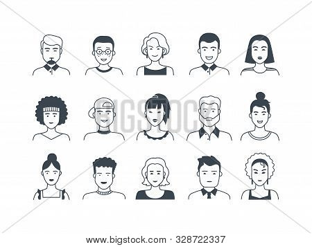 Avatar Line Icons. Male And Female Hand Drawn Cartoon Persons, Flat Boys And Girls Doodle Characters