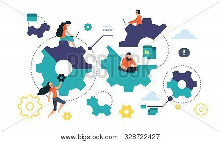 Cogwheel Cooperation Concept. Flat Gear Business Mechanism, People Management And Organization. Vect