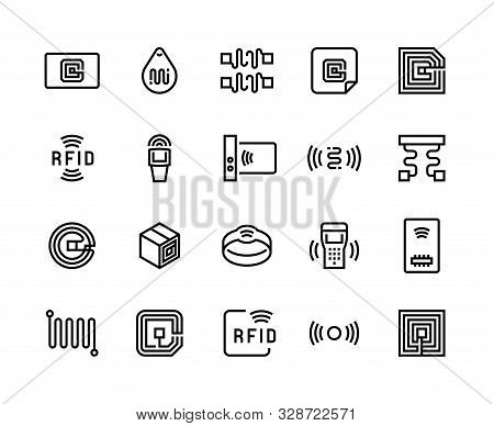 Radio Tag Line Icons. Wireless Rfid Chip And Radio-frequency Identification, Wireless Antenna And El