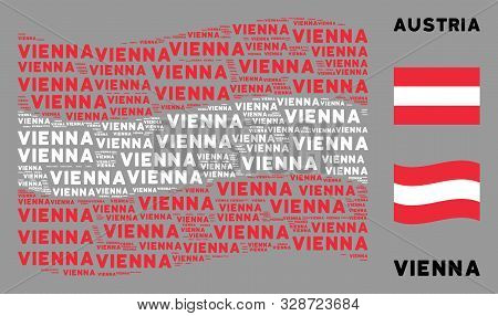 Waving Austria Official Flag. Vector Vienna Text Design Elements Are Grouped Into Geometric Austria