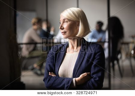 Thoughtful Old Businesswoman Ceo Looking Through Window Thinking Of Leadership