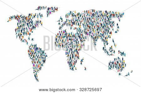 World Map. Large Group Of Business People, Workers, Family Members And Students Organised Into World