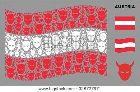 Waving Austrian Flag. Vector Daemon Head Icons Are Combined Into Conceptual Austrian Flag Illustrati