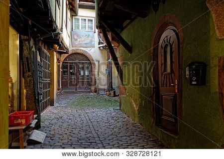 Riquewihr, France, October 13, 2019 : Old Streets Of The Medieval Village. Popular Tourist Attractio