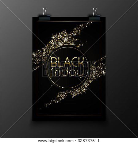 Black Friday Design For Advertising, Banners, Leaflets And Flyers. Gold Glitter Effect On Realistic
