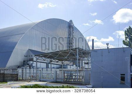 Chernobyl Sarcophagus Over The 4th Reactor, Ukraine. Chernobyl Nuclear Power Plant.
