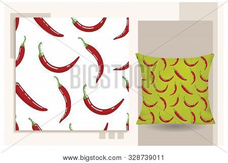 Chili Pepper Icon Isolated On White Background. Seamless Pattern Chili Pepper Simple Design. Seamles