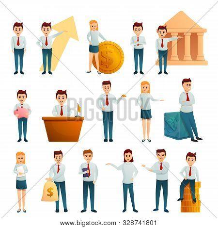Bank Employee Icons Set. Cartoon Set Of Bank Employee Vector Icons For Web Design