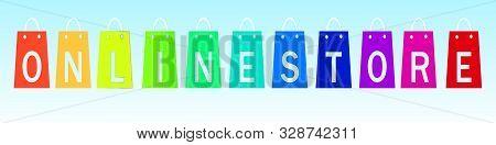 Online Shopping. Shopping Bags Logo With Shop Inscription. Internet Shop Concept. Vector Illustratio
