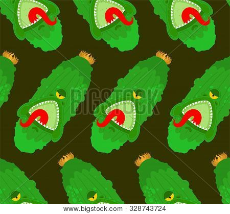 Cucumber Monster Pattern Seamless. Gmo Mutant Background. Angry Vegetable With Teeth Ornament. Hungr