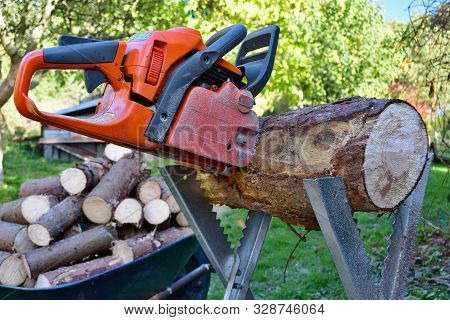 Traditional Rural Wood Processing Chainsaw, South Bohemia, Czech Republic