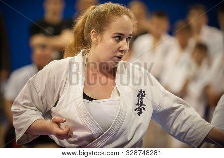 Female International Woman Karate Kyokushin Competition Fight. Belgrade Trophy Tournament