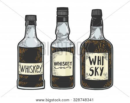 Whisky Whiskey Bottles Flasks Sketch Engraving Vector Illustration. T-shirt Apparel Print Design. Sc