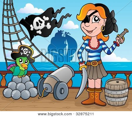 Pirate ship deck theme 8 - vector illustration.