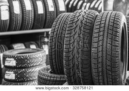 New Winter Tire Sets Without Studs At Tire Shop