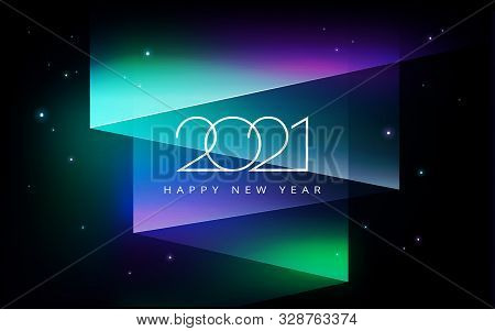 2021 Happy New Year Vector Illustration - Aurora Borealis Northern Lights In The Sky - Black, Green,