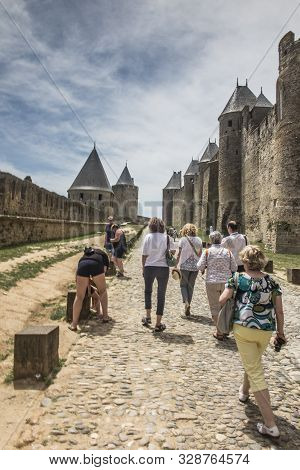 Carcassonne Languedoc-roussillon France - June 25, 2019: Carcasson Fortificated Castle Is A Unesco W