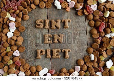 Dutch Candy Called Pepernoten Eaten During Sinterklaas Feast. Sint En Piet Means Santa And Pete