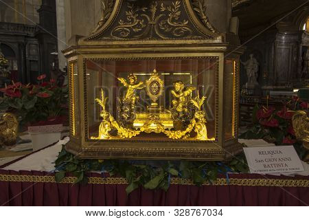 Turin, Italy, June 27 2019: Relics Of Saint John The Baptist Patron Of The City Of Turin In The Cath